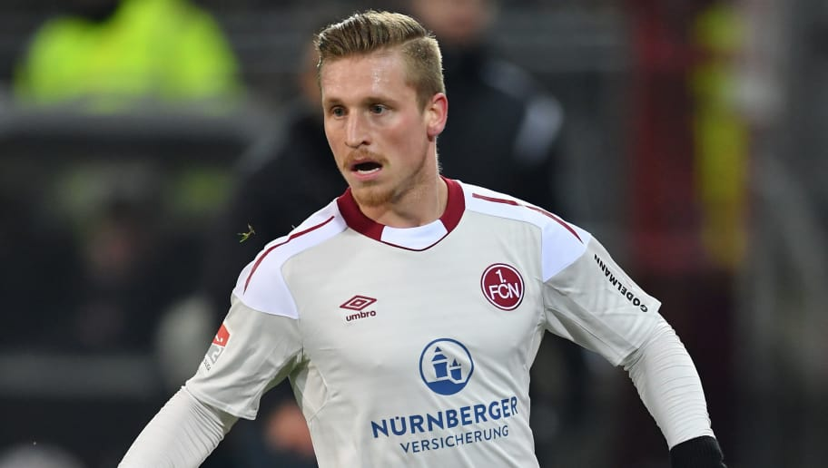 HAMBURG, GERMANY - FEBRUARY 12:  Marvin Stefaniak of Nuernberg in action during the Second Bundesliga match between FC St. Pauli and 1. FC Nuernberg at Millerntor Stadium on February 12, 2018 in Hamburg, Germany.  (Photo by Stuart Franklin/Bongarts/Getty Images)