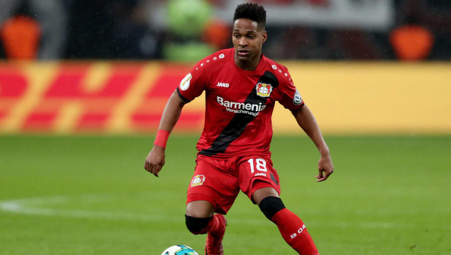 LEVERKUSEN, GERMANY - FEBRUARY 06: Wendell of Leverkusen runs with the ball the DFB Cup quarter final match between Bayer Leverkusen and Werder Bermen at BayArena on February 6, 2018 in Leverkusen, Germany. The match between Leverkusen and Bremen ended 4-2 after extra time. (Photo by Christof Koepsel/Bongarts/Getty Images)