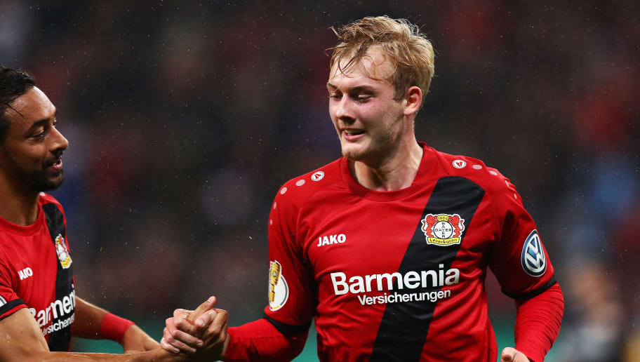 LEVERKUSEN, GERMANY - OCTOBER 24:  Julian Brandt of Bayer 04 Leverkusen celebrates scoring his teams first goal of the game with Karim Bellarabi during the DFB Cup match between Bayer Leverkusen and 1. FC Union Berlin at BayArena on October 24, 2017 in Leverkusen, Germany.  (Photo by Dean Mouhtaropoulos/Bongarts/Getty Images)