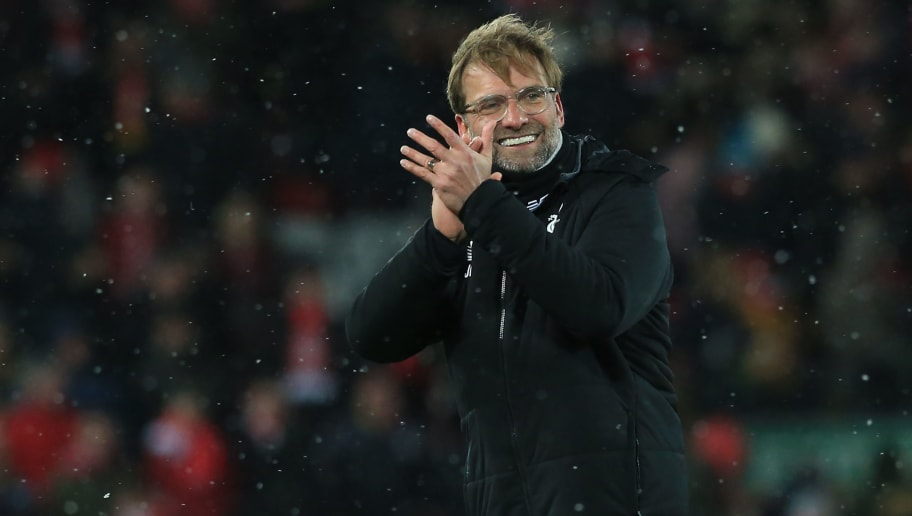 Liverpool's German manager Jurgen Klopp gestures after the English Premier League football match between Liverpool and Watford at Anfield in Liverpool, north west England on March 17, 2018. / AFP PHOTO / Lindsey PARNABY / RESTRICTED TO EDITORIAL USE. No use with unauthorized audio, video, data, fixture lists, club/league logos or 'live' services. Online in-match use limited to 75 images, no video emulation. No use in betting, games or single club/league/player publications.  /         (Photo credit should read LINDSEY PARNABY/AFP/Getty Images)