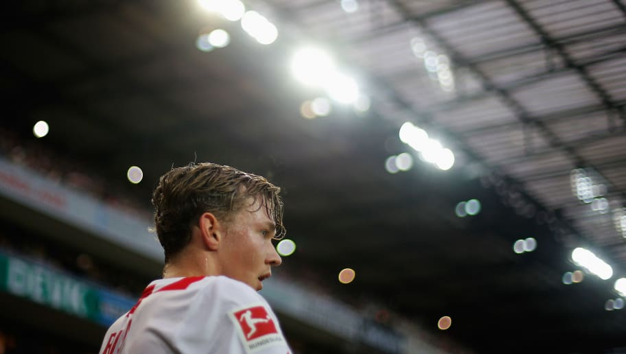COLOGNE, GERMANY - DECEMBER 16:  Birk Risa of FC Koeln gets ready to take a corner during the Bundesliga match between 1. FC Koeln and VfL Wolfsburg at RheinEnergieStadion on December 16, 2017 in Cologne, Germany.  (Photo by Dean Mouhtaropoulos/Bongarts/Getty Images)