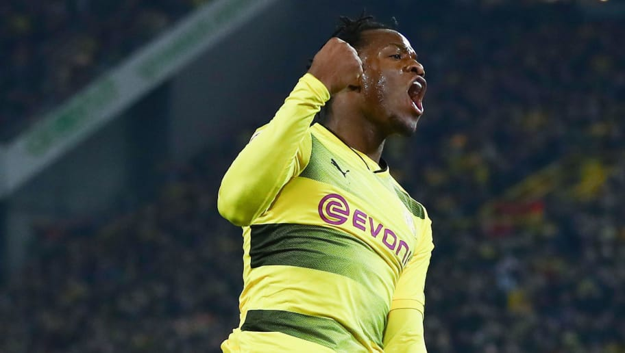 DORTMUND, GERMANY - MARCH 11: Michy Batshuayi of Dortmund celebrates his team's second goal during the Bundesliga match between Borussia Dortmund and Eintracht Frankfurt at Signal Iduna Park on March 11, 2018 in Dortmund, Germany.  (Photo by Lars Baron/Bongarts/Getty Images)