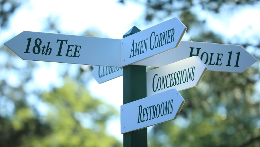 AUGUSTA, GEORGIA - APRIL 04:  Signage indicates directions to areas such as Amen Corner during a practice round prior to the start of the 2016 Masters Tournament at Augusta National Golf Club on April 4, 2016 in Augusta, Georgia.  (Photo by Andrew Redington/Getty Images)