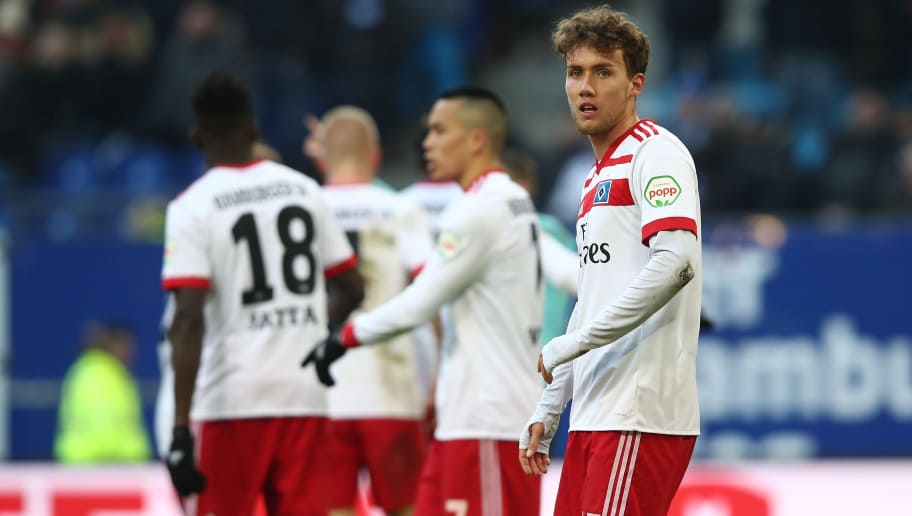 HAMBURG, GERMANY - MARCH 17: Luca Waldschmidt of Hamburg appears frustrated after the Bundesliga match between Hamburger SV and Hertha BSC at Volksparkstadion on March 17, 2018 in Hamburg, Germany.  (Photo by Oliver Hardt/Bongarts/Getty Images)