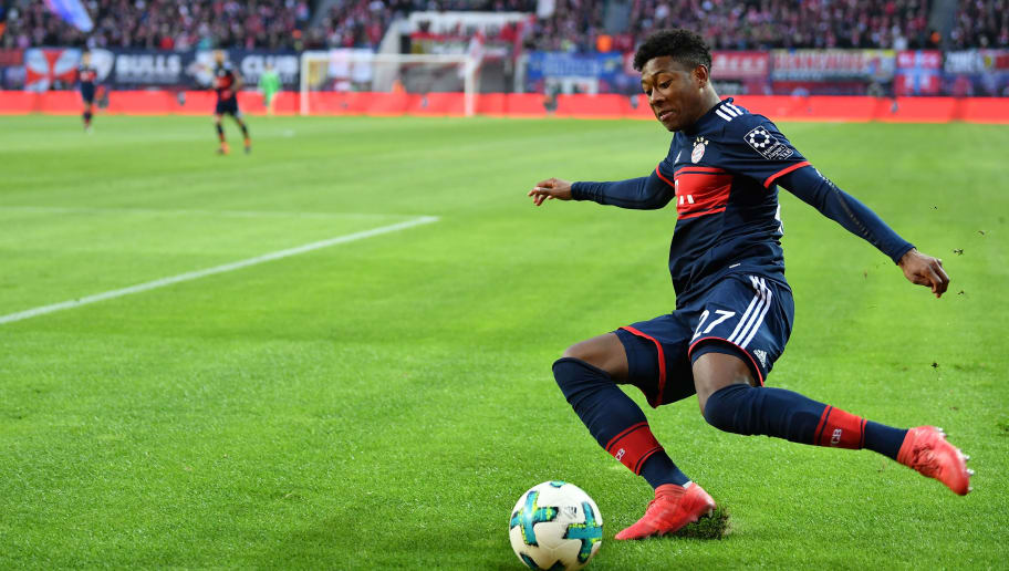 LEIPZIG, GERMANY - MARCH 18:  David Alaba of Bayern in action during the Bundesliga match between RB Leipzig and FC Bayern Muenchen at Red Bull Arena on March 18, 2018 in Leipzig, Germany.  (Photo by Stuart Franklin/Bongarts/Getty Images)