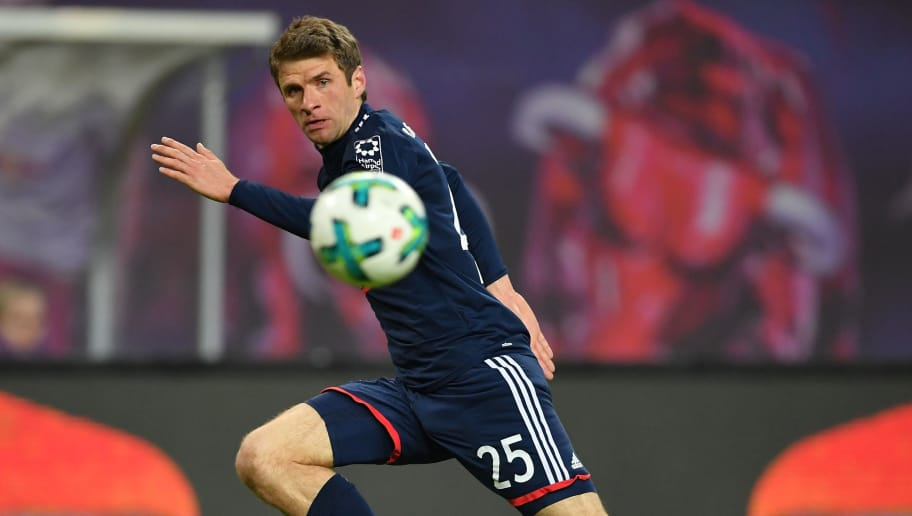 LEIPZIG, GERMANY - MARCH 18:  Thomas Mueller of Bayern in action during the Bundesliga match between RB Leipzig and FC Bayern Muenchen at Red Bull Arena on March 18, 2018 in Leipzig, Germany.  (Photo by Stuart Franklin/Bongarts/Getty Images)