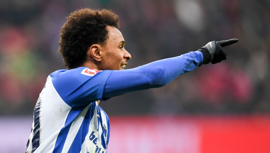 Berlin's Austrian midfielder Valentino Lazaro celebrates after scoring during the German first division Bundesliga football match Bayer Leverkusen versus Hertha Berlin on February 10, 2018 in Leverkusen. / AFP PHOTO / Patrik STOLLARZ / RESTRICTIONS: DURING MATCH TIME: DFL RULES TO LIMIT THE ONLINE USAGE TO 15 PICTURES PER MATCH AND FORBID IMAGE SEQUENCES TO SIMULATE VIDEO. == RESTRICTED TO EDITORIAL USE == FOR FURTHER QUERIES PLEASE CONTACT DFL DIRECTLY AT + 49 69 650050         (Photo credit should read PATRIK STOLLARZ/AFP/Getty Images)