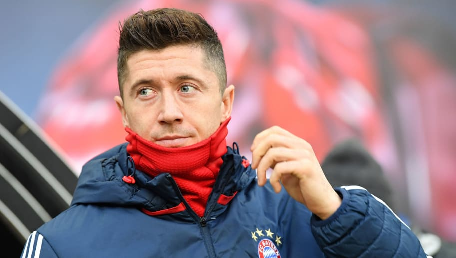LEIPZIG, GERMANY - MARCH 18: Robert Lewandowski of Bayern looks on during the Bundesliga match between RB Leipzig and FC Bayern Muenchen at Red Bull Arena on March 18, 2018 in Leipzig, Germany.  (Photo by Stuart Franklin/Bongarts/Getty Images)
