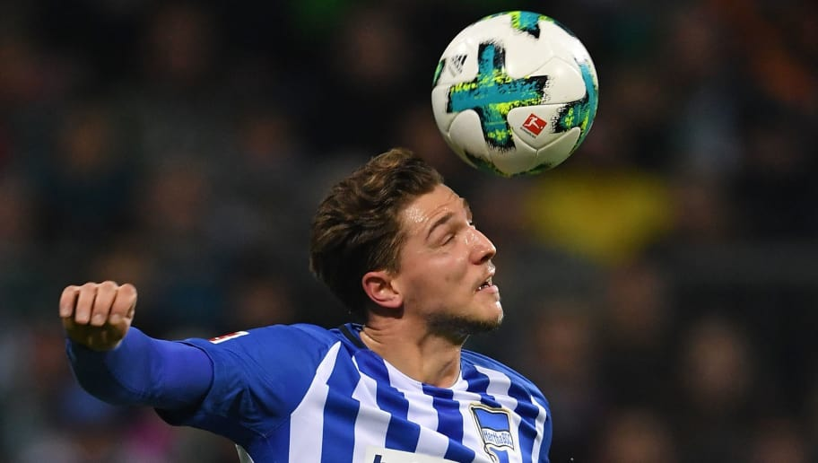 BREMEN, GERMANY - JANUARY 27:  Niklas Stark of Berlin in action during the Bundesliga match between SV Werder Bremen and Hertha BSC at Weserstadion on January 27, 2018 in Bremen, Germany.  (Photo by Stuart Franklin/Bongarts/Getty Images)