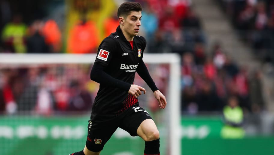 COLOGNE, GERMANY - MARCH 18: Kai Havertz #29 of Bayer Leverkusen controls the ball during the Bundesliga match between 1. FC Koeln and Bayer 04 Leverkusen at RheinEnergieStadion on March 18, 2018 in Cologne, Germany. (Photo by Maja Hitij/Bongarts/Getty Images)
