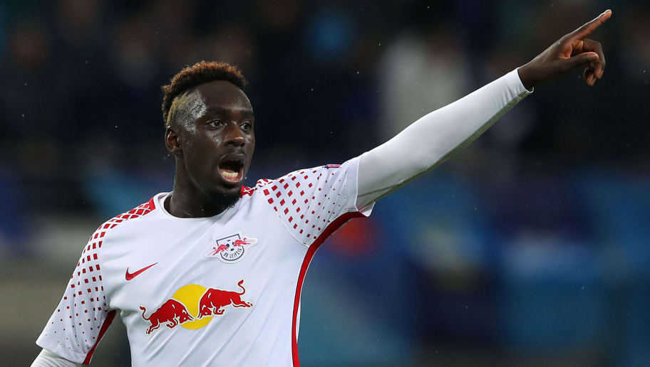 LEIPZIG, GERMANY - MARCH 08: Jean Kevin Augustin of RB Leipzig gestures during the UEFA Europa League Round of 16 match between RB Leipzig and Zenit St Petersburg at the Red Bull Arena on March 8, 2018 in Leipzig, Germany. (Photo by Ronny Hartmann/Bongarts/Getty Images)