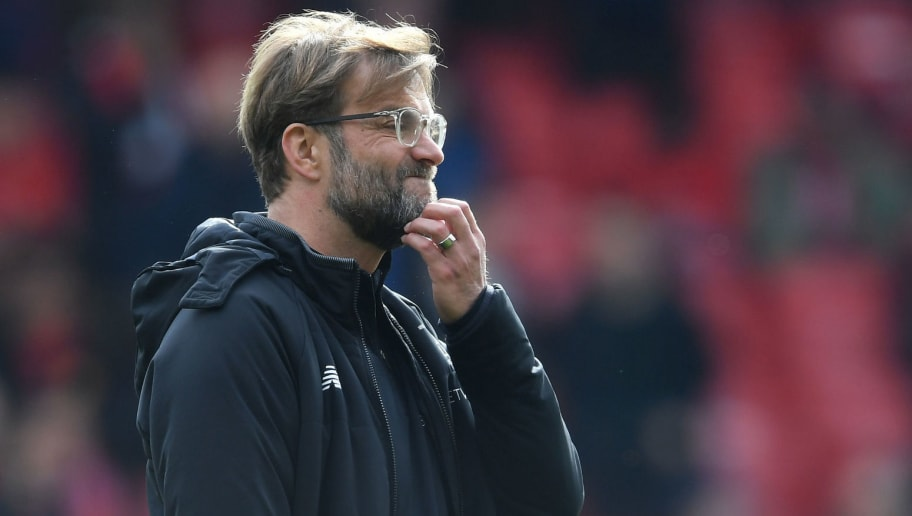 MANCHESTER, ENGLAND - MARCH 10: Jurgen Klopp of Liverpool looks on prior to the Premier League match between Manchester United and Liverpool at Old Trafford on March 10, 2018 in Manchester, England.  (Photo by Laurence Griffiths/Getty Images)