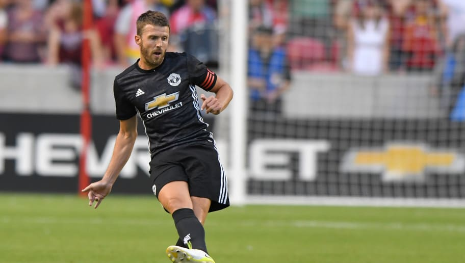 SANDY, UT - JULY 17: Michael Carrick #16 of Manchester United follows through on a kick during the International friendly game against Real Salt Lake at Rio Tinto Stadium on July 17, 2017 in Sandy, Utah. (Photo by Gene Sweeney Jr/Getty Images)