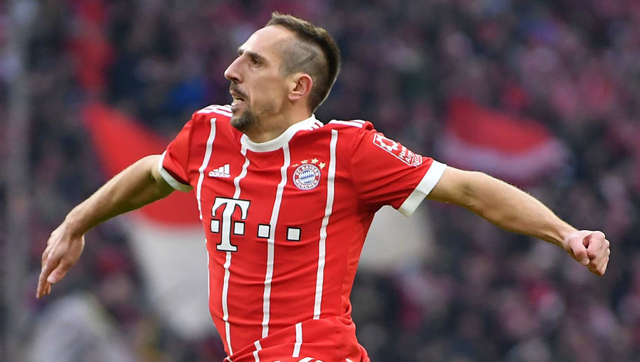 MUNICH, GERMANY - MARCH 31: Franck Ribery of Bayern Muenchen (l) celebrates a goal which was later disallowed, during the Bundesliga match between FC Bayern Muenchen and Borussia Dortmund at Allianz Arena on March 31, 2018 in Munich, Germany. (Photo by Stuart Franklin/Bongarts/Getty Images)