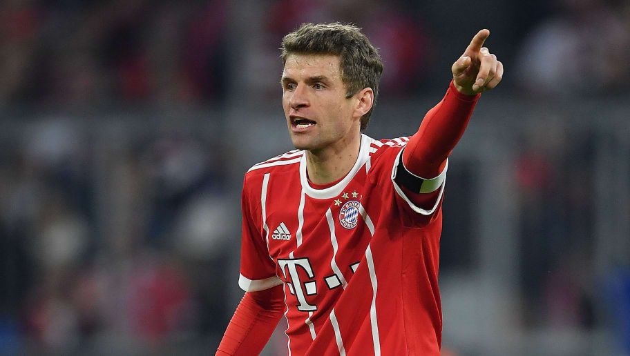 MUNICH, GERMANY - MARCH 31: Thomas Mueller of Bayern Muenchen gestures during the Bundesliga match between FC Bayern Muenchen and Borussia Dortmund at Allianz Arena on March 31, 2018 in Munich, Germany. (Photo by Stuart Franklin/Bongarts/Getty Images)