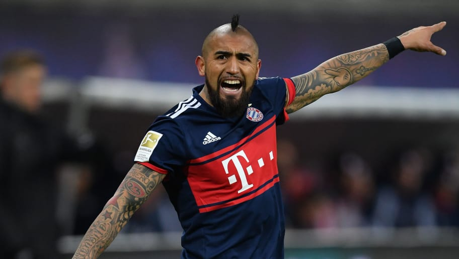 LEIPZIG, GERMANY - MARCH 18:  Arturo Vidal of Bayern reacts during the Bundesliga match between RB Leipzig and FC Bayern Muenchen at Red Bull Arena on March 18, 2018 in Leipzig, Germany.  (Photo by Stuart Franklin/Bongarts/Getty Images)