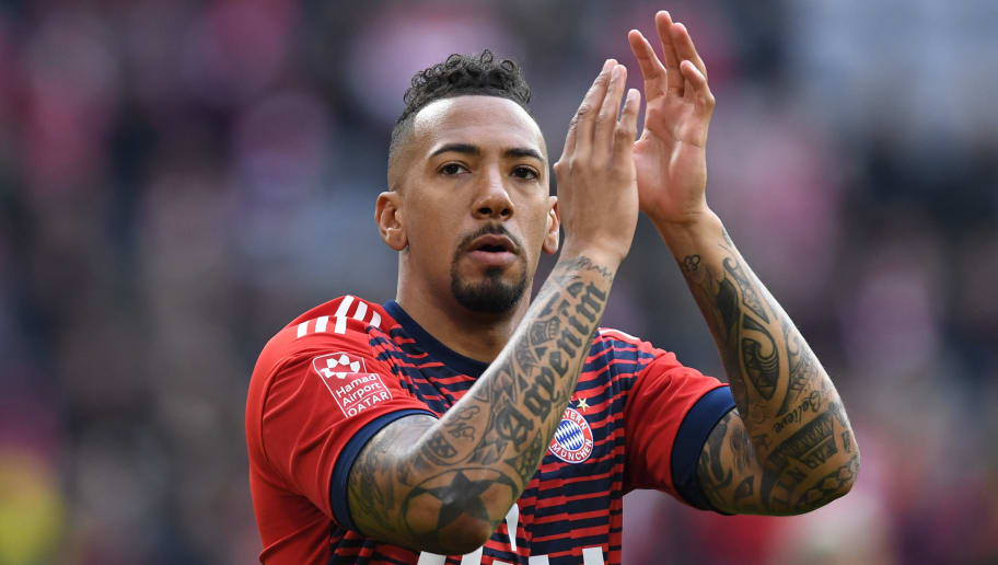 Bayern Munich's German defender Jerome Boateng arrives prior to the German first division Bundesliga football match FC Bayern Munich vs Borussia Dortmund in Munich, southern Germany, on March 31, 2018.  / AFP PHOTO / Christof STACHE / RESTRICTIONS: DURING MATCH TIME: DFL RULES TO LIMIT THE ONLINE USAGE TO 15 PICTURES PER MATCH AND FORBID IMAGE SEQUENCES TO SIMULATE VIDEO. == RESTRICTED TO EDITORIAL USE == FOR FURTHER QUERIES PLEASE CONTACT DFL DIRECTLY AT + 49 69 650050  / RESTRICTIONS: DURING MATCH TIME: DFL RULES TO LIMIT THE ONLINE USAGE TO 15 PICTURES PER MATCH AND FORBID IMAGE SEQUENCES TO SIMULATE VIDEO. == RESTRICTED TO EDITORIAL USE == FOR FURTHER QUERIES PLEASE CONTACT DFL DIRECTLY AT + 49 69 650050        (Photo credit should read CHRISTOF STACHE/AFP/Getty Images)