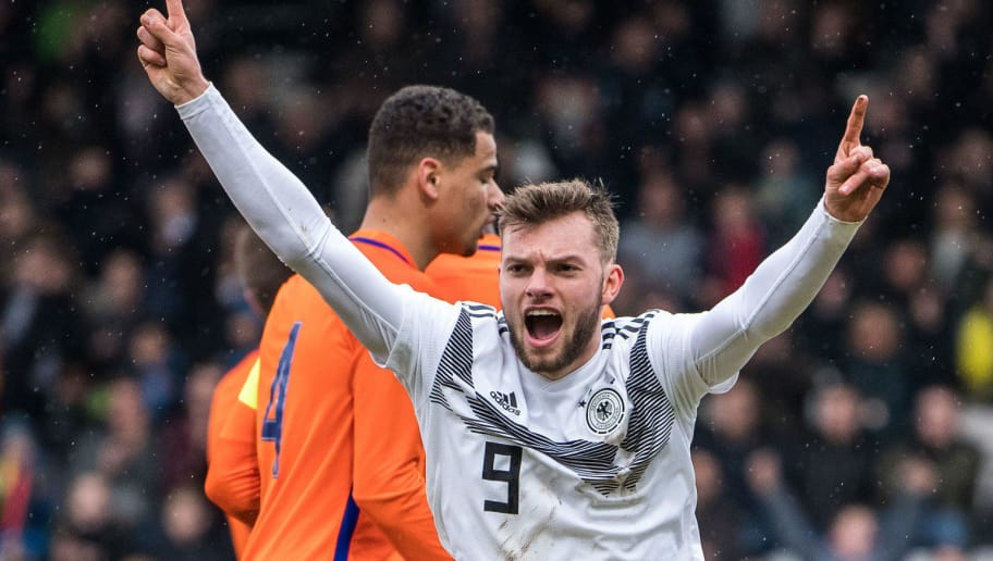 AHLEN, GERMANY - MARCH 27: Manuel Wintzheimer of Germany celebrates his teams first goal during the Under 19 Euro Qualifier between Germany and Netherlands on March 27, 2018 in Ahlen, Germany. (Photo by Lukas Schulze/Bongarts/Getty Images)