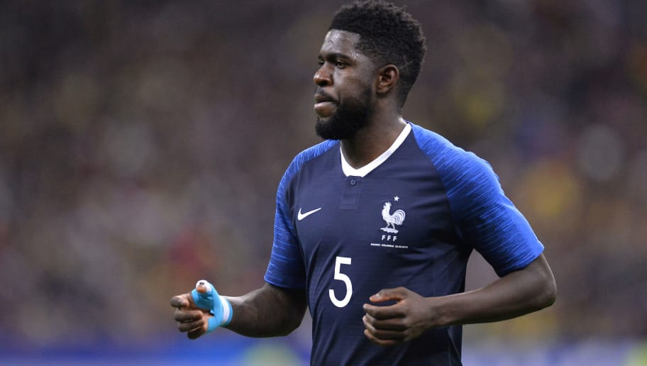 PARIS, FRANCE - MARCH 23:  Samuel Umtiti of France reacts during the international friendly match between France and Colombia at Stade de France on March 23, 2018 in Paris, France.  (Photo by Aurelien Meunier/Getty Images)