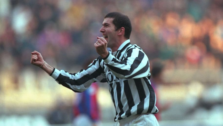 1 Dec 1998:  Zinedine Zidane of Juventus runs away to celebrate after scoring a goal during the Serie A match against Bologna played in the Deli Alpi Stadium in Turin, Italy.  The match finished in a 1-0 victory for Juventus.  \ Mandatory Credit: AllsportUK /Allsport