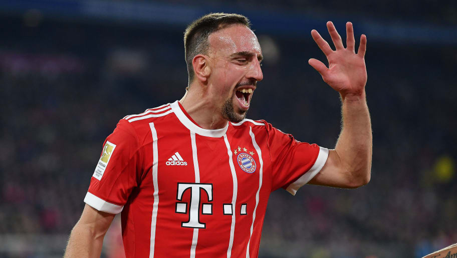 MUNICH, GERMANY - MARCH 31: Franck Ribery of Bayern Muenchen smiles during the Bundesliga match between FC Bayern Muenchen and Borussia Dortmund at Allianz Arena on March 31, 2018 in Munich, Germany. (Photo by Stuart Franklin/Bongarts/Getty Images)
