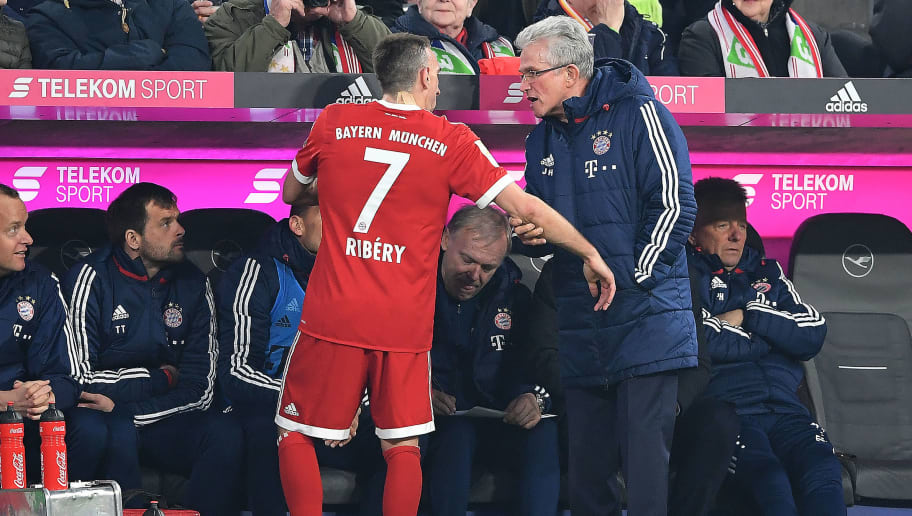 MUNICH, GERMANY - MARCH 31: Franck Ribery of Bayern Muenchen (l) talks with Jupp Heynckes, head coach of Bayern Muechen, as he comes off, during the Bundesliga match between FC Bayern Muenchen and Borussia Dortmund at Allianz Arena on March 31, 2018 in Munich, Germany. (Photo by Stuart Franklin/Bongarts/Getty Images)