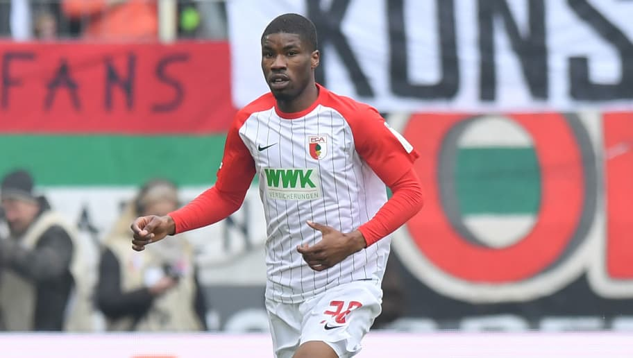 AUGSBURG, GERMANY - MARCH 03: Kevin Danso of Augsburg plays the ball during the Bundesliga match between FC Augsburg and TSG 1899 Hoffenheim at WWK-Arena on March 3, 2018 in Augsburg, Germany. (Photo by Sebastian Widmann/Bongarts/Getty Images)