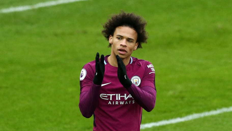 LIVERPOOL, ENGLAND - MARCH 31:  Leroy Sane of Manchester City celebrates after scoring his sides first goal during the Premier League match between Everton and Manchester City at Goodison Park on March 31, 2018 in Liverpool, England.  (Photo by Jan Kruger/Getty Images)