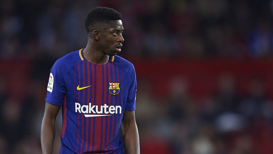 SEVILLE, SPAIN - MARCH 31:  Ousmane Dembele of FC Barcelona  looks on during the La Liga match between Sevilla CF and FC Barcelona at Estadio Ramon Sanchez Pizjuan on March 31, 2018 in Seville, Spain.  (Photo by Aitor Alcalde/Getty Images)