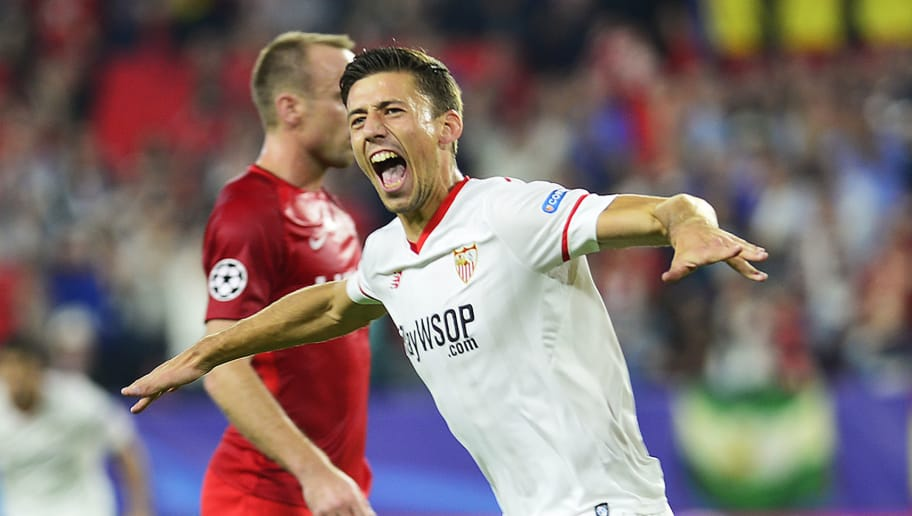 Sevilla's French defender Clement Lenglet celebrates after scoring a goal during the UEFA Champions League group E football match between Sevilla and Spartak Moscow at Sanchez Pizjuan Stadium in Sevilla on November 1, 2017. / AFP PHOTO / CRISTINA QUICLER        (Photo credit should read CRISTINA QUICLER/AFP/Getty Images)
