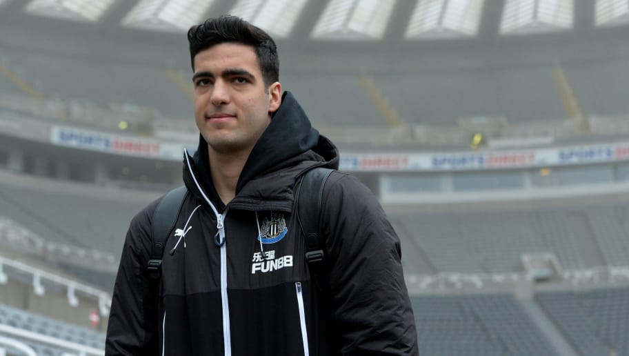 NEWCASTLE UPON TYNE, ENGLAND - MARCH 10:  Mikel Merino of Newcastle United arrives ahead of the Premier League match between Newcastle United and Southampton at St. James Park on March 10, 2018 in Newcastle upon Tyne, England.  (Photo by Mark Runnacles/Getty Images)