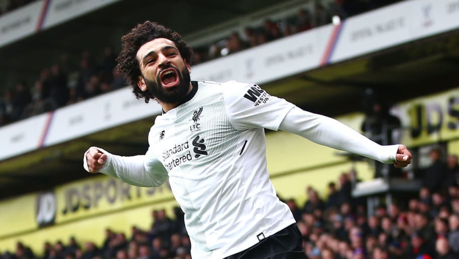 LONDON, ENGLAND - MARCH 31:  Mohamed Salah of Liverpool celebrates after scoring his sides second goal during the Premier League match between Crystal Palace and Liverpool at Selhurst Park on March 31, 2018 in London, England.  (Photo by Jordan Mansfield/Getty Images)