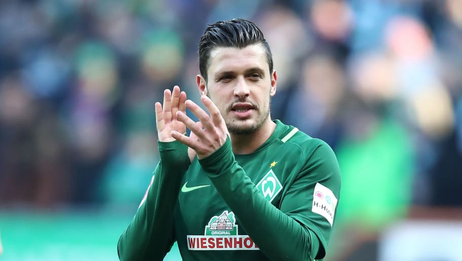 BREMEN, GERMANY - APRIL 01:  Zlatko Junuzovic of Bremen celebrate after the Bundesliga match between SV Werder Bremen and Eintracht Frankfurt at Weserstadion on April 1, 2018 in Bremen, Germany.  (Photo by Oliver Hardt/Bongarts/Getty Images)