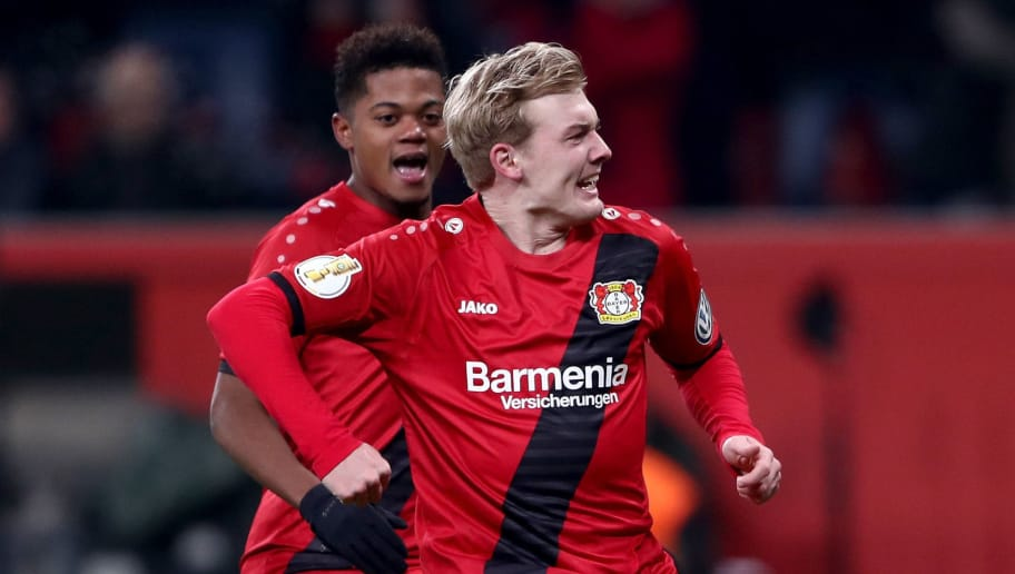 LEVERKUSEN, GERMANY - FEBRUARY 06:  Juian Brandt of Leverkusen celebrates after he scores the equalizing goal during the DFB Cup quarter final match between Bayer Leverkusen and Werder Bremen at BayArena on February 6, 2018 in Leverkusen, Germany.  (Photo by Alex Grimm/Bongarts/Getty Images)