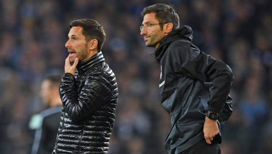 BIELEFELD, GERMANY - OCTOBER 27: Head coach Stefan Leitl (L) and assistant coach Andre Mijatovic of Ingolstadt look on during the Second Bundesliga match between DSC Arminia Bielefeld and FC Ingolstadt 04 at Schueco Arena on October 27, 2017 in Bielefeld, Germany. (Photo by Thomas Starke/Bongarts/Getty Images)