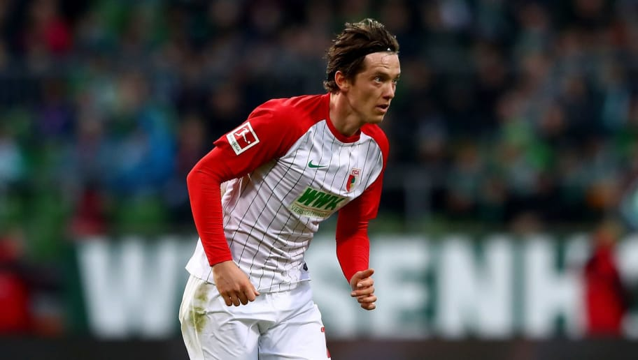 BREMEN, GERMANY - OCTOBER 29: Michael Gregoritsch of Augsburg  runs with the ball during the Bundesliga match between SV Werder Bremen and FC Augsburg at Weserstadion on October 29, 2017 in Bremen, Germany.  (Photo by Martin Rose/Bongarts/Getty Images)
