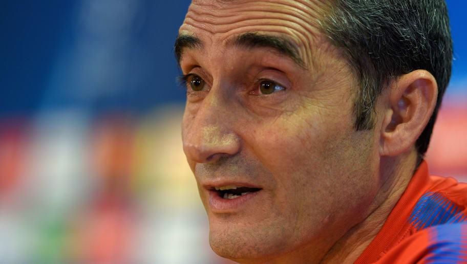 Barcelona's coach Ernesto Valverde speaks during a press conference at the Joan Gamper Sports Center in Sant Joan Despi, near Barcelona, on April 3, 2018, on the eve the UEFA Champions League quarter-final first leg football match FC Barcelona versus AS Roma. / AFP PHOTO / LLUIS GENE        (Photo credit should read LLUIS GENE/AFP/Getty Images)