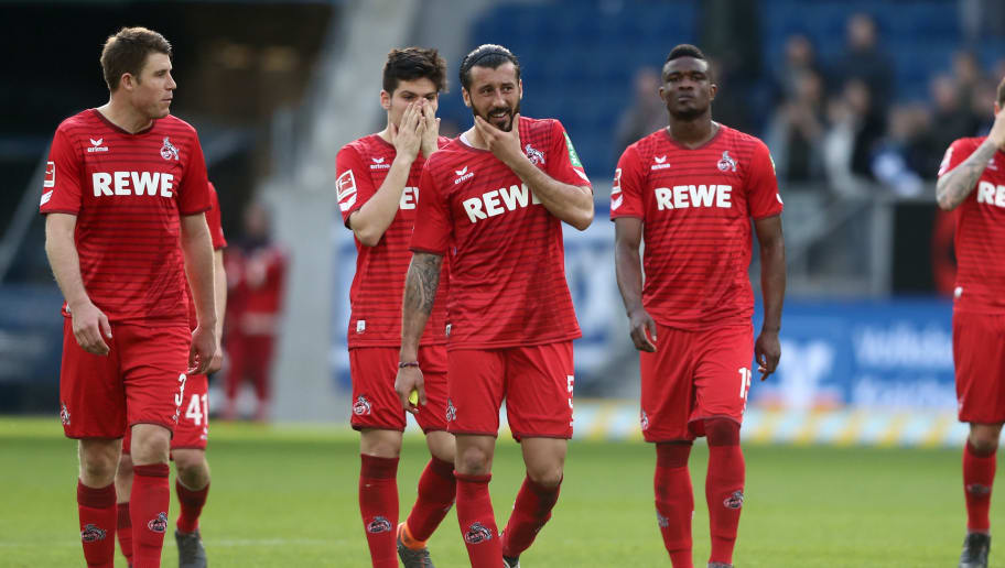 SINSHEIM, GERMANY - MARCH 31: The team of Koeln looks dejected after the Bundesliga match between TSG 1899 Hoffenheim and 1. FC Koeln at Wirsol Rhein-Neckar-Arena on March 31, 2018 in Sinsheim, Germany. The match between Hoffenheim and Koeln ended 6-0. (Photo by Christof Koepsel/Bongarts/Getty Images)