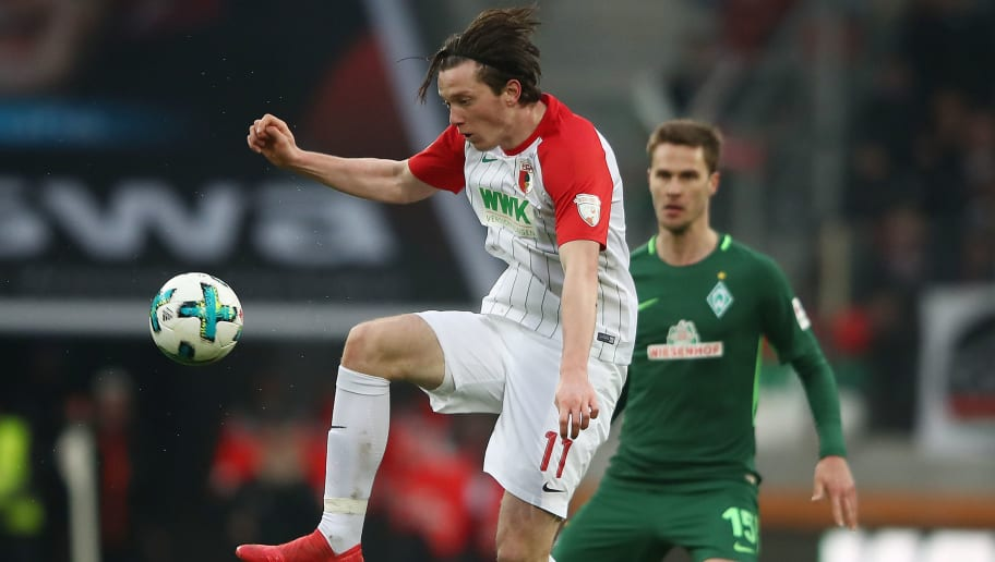AUGSBURG, GERMANY - MARCH 17: Michael Gregoritsch of Augsburg plays the ball during the Bundesliga match between FC Augsburg and SV Werder Bremen at WWK-Arena on March 17, 2018 in Augsburg, Germany. (Photo by Alex Grimm/Bongarts/Getty Images)