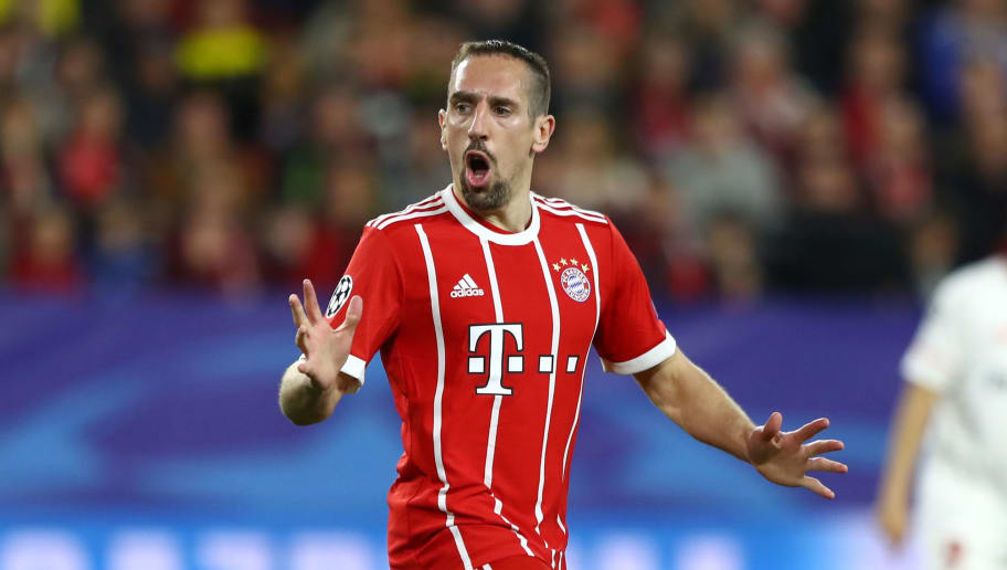 SEVILLE, SPAIN - APRIL 03: Franck Ribery of Bayern Muenchen reacts during the UEFA Champions League Quarter Final Leg One match between Sevilla FC and Bayern Muenchen at Estadio Ramon Sanchez Pizjuan on April 3, 2018 in Seville, Spain.  (Photo by Martin Rose/Bongarts/Getty Images)