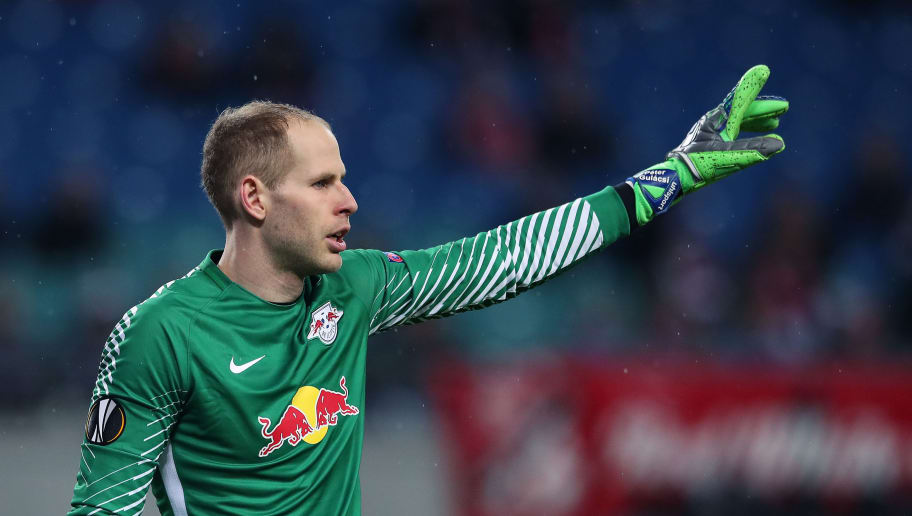 LEIPZIG, GERMANY - MARCH 08: Goalkeeper Peter Gulacsi of RB Leipzig gestures during the UEFA Europa League Round of 16 match between RB Leipzig and Zenit St Petersburg at the Red Bull Arena on March 8, 2018 in Leipzig, Germany. (Photo by Ronny Hartmann/Bongarts/Getty Images)