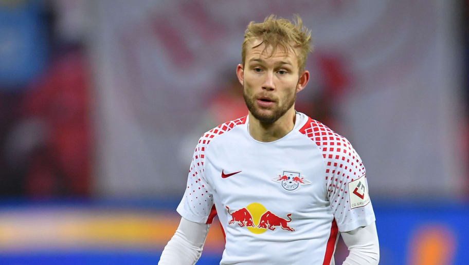 LEIPZIG, GERMANY - MARCH 18:  Konrad Laimer of Leipzig in action during the Bundesliga match between RB Leipzig and FC Bayern Muenchen at Red Bull Arena on March 18, 2018 in Leipzig, Germany.  (Photo by Stuart Franklin/Bongarts/Getty Images)