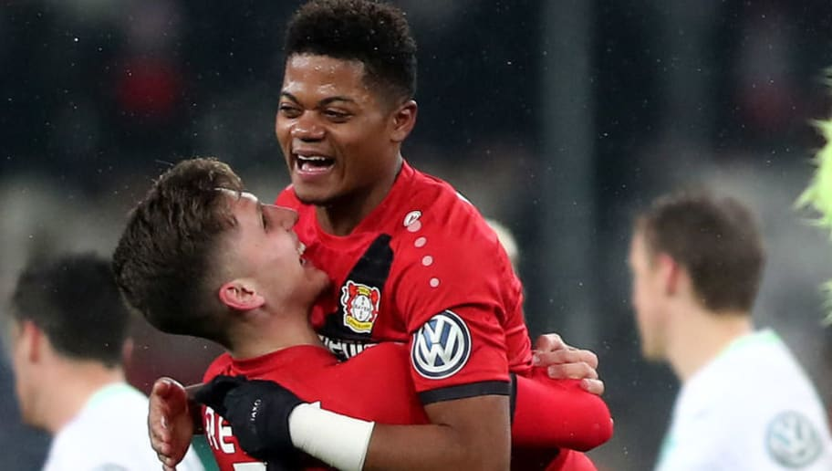 LEVERKUSEN, GERMANY - FEBRUARY 06: (L-R) l03 and Leon Bailey of Leverkusen celebrate after the DFB Cup quarter final match between Bayer Leverkusen and Werder Bermen at BayArena on February 6, 2018 in Leverkusen, Germany. The match between Leverkusen and Bremen ended 4-2 after extra time. (Photo by Christof Koepsel/Bongarts/Getty Images)