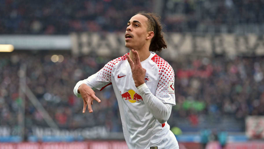 HANOVER, GERMANY - MARCH 31: Yussuf Poulsen of Leipzig celebrates his teams third goal during the Bundesliga match between Hannover 96 and RB Leipzig at HDI-Arena on March 31, 2018 in Hanover, Germany. (Photo by Thomas Starke/Bongarts/Getty Images)
