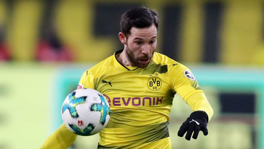 DORTMUND, GERMANY - FEBRUARY 26: Gonzalo Castro of Dortmund runs with the ball during the Bundesliga match between Borussia Dortmund and FC Augsburg at Signal Iduna Park on February 26, 2018 in Dortmund, Germany. (Photo by Christof Koepsel/Bongarts/Getty Images)