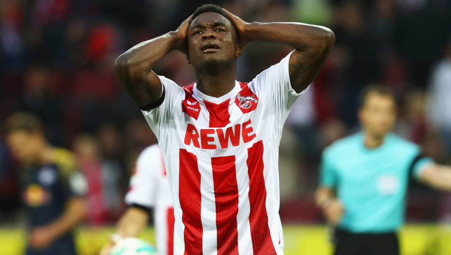 COLOGNE, GERMANY - OCTOBER 01:  Jhon Cordoba of FC Koeln reacts to a missed chance on goal during the Bundesliga match between 1. FC Koeln and RB Leipzig at RheinEnergieStadion on October 1, 2017 in Cologne, Germany.  (Photo by Dean Mouhtaropoulos/Bongarts/Getty Images)
