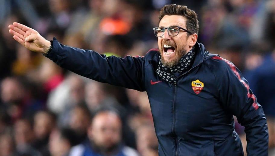 BARCELONA, SPAIN - APRIL 04:  Eusebio Di Francesco, coach of AS Roma reacts during the UEFA Champions League Quarter Final Leg One match between FC Barcelona and AS Roma at Camp Nou on April 4, 2018 in Barcelona, Spain.  (Photo by Stuart Franklin/Getty Images)