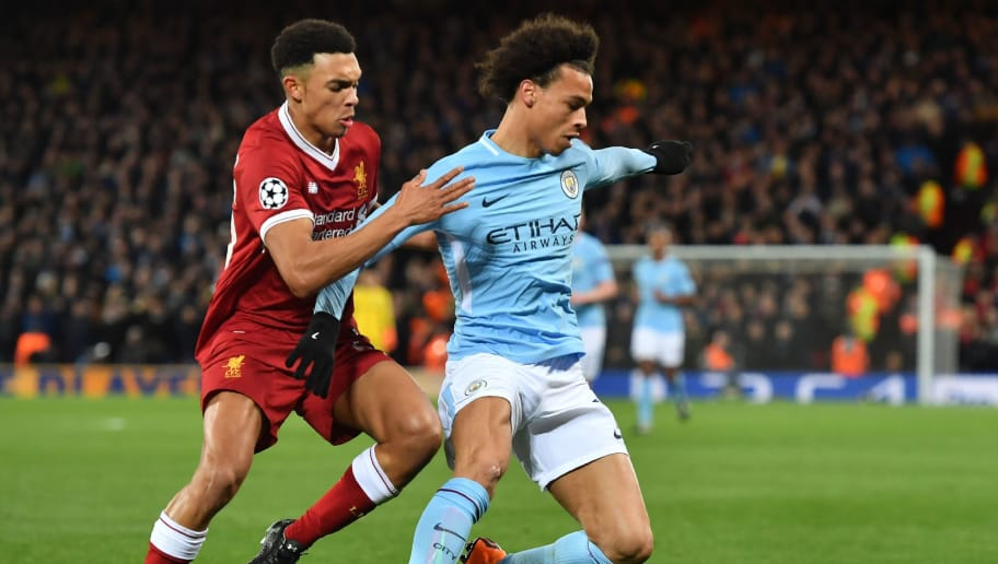 Liverpool's English midfielder Trent Alexander-Arnold (L) vies with Manchester City's German midfielder Leroy Sane during the UEFA Champions League first leg quarter-final football match between Liverpool and Manchester City, at Anfield stadium in Liverpool, north west England on April 4, 2018. / AFP PHOTO / Anthony Devlin        (Photo credit should read ANTHONY DEVLIN/AFP/Getty Images)