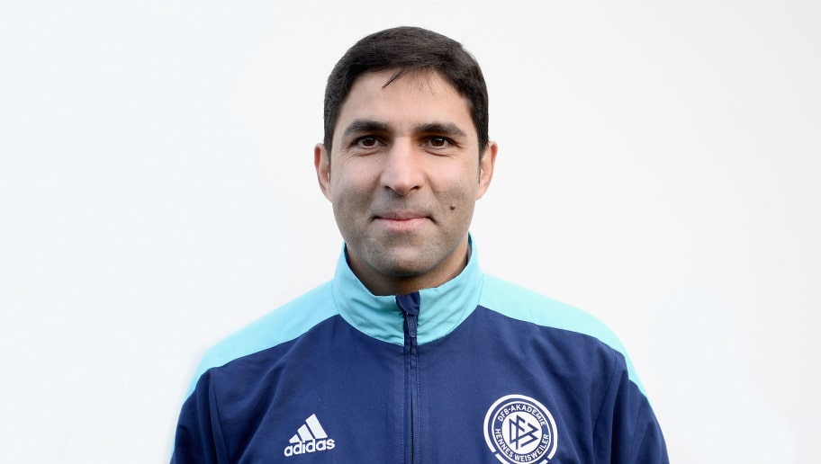 HENNEF, GERMANY - DECEMBER 08:  Vahid Hashemian poses during the DFB Coach Course Photocall on December 8, 2014 in Hennef, Germany.  (Photo by Dennis Grombkowski/Bongarts/Getty Images)