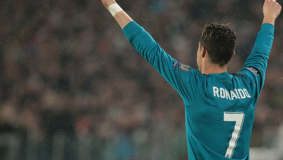 TURIN, ITALY - APRIL 03:  Cristiano Ronaldo of Real Madrid celebrates after scoring the opening goal during the UEFA Champions League Quarter Final Leg One match between Juventus and Real Madrid at Allianz Stadium on April 3, 2018 in Turin, Italy.  (Photo by Emilio Andreoli/Getty Images)
